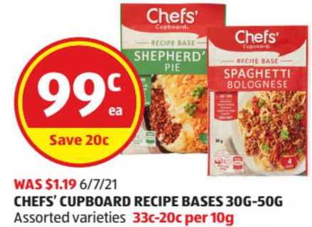 ALDI Chefs' Cupboard Recipe Bases