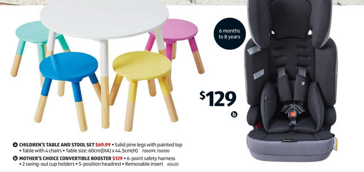 ALDI Children's Table And Stool Set Or Mother's Choice Convertible Booster