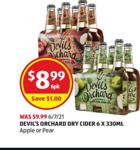 ALDI Devil's Orchard Dry Cider 6 X 330mL
