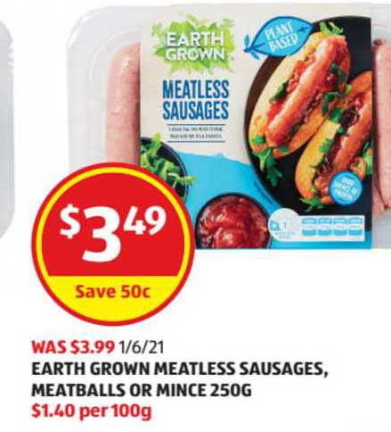 ALDI Earth Grown Meatleass Sausages, Meatballs Or Mince 250g