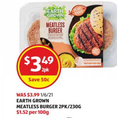 ALDI Earth Grown Meatless Burger 2Pk-230g