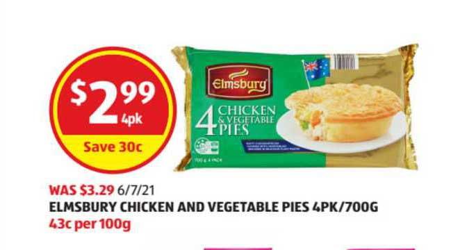 ALDI Elmsbury Chicken And Vegetable Pies