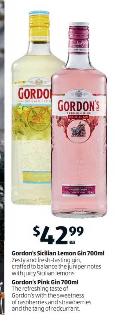 ALDI Gordon's Sicilian Lemon Gin Gordon's Pink Gin