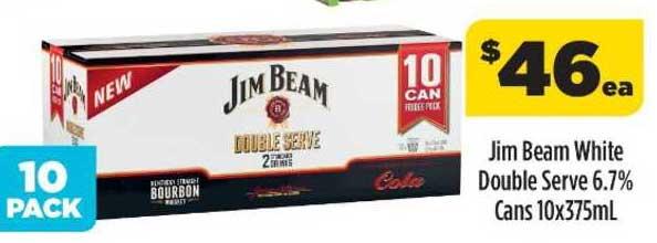 Liquorland Jim Beam White Double Serve 6.7% Cans