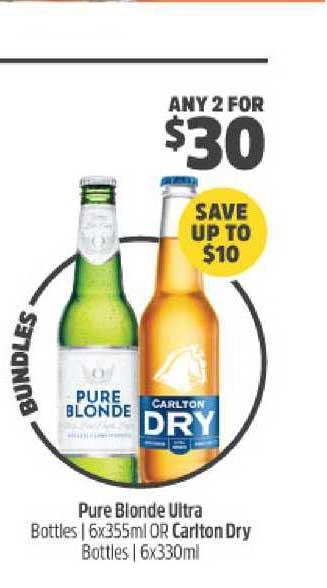 BWS Pure Blonde Ultra Or Carlton Dry