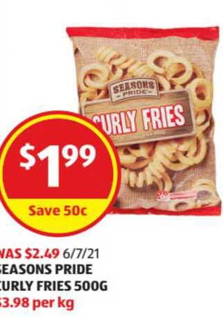 ALDI Seasons Pride Curly Fries