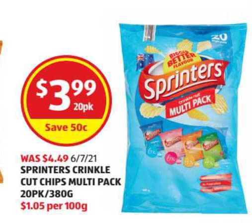 ALDI Sprinters Crinkle Cut Chips Multi Pack 20Pk-380g
