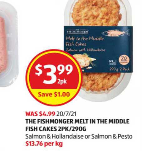 ALDI The Fishmonger Melt In The Middle Fish Cakes 2Pk-290g