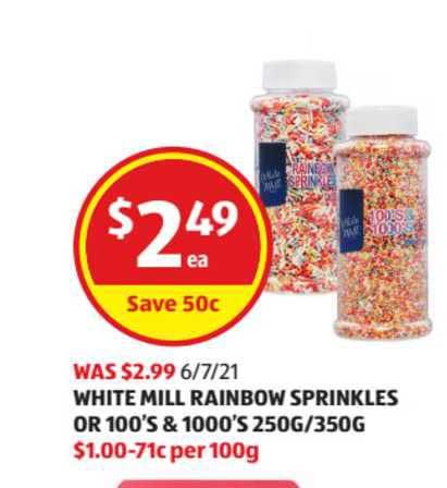 ALDI White Mill Rainbow Sprinkles Or 100's & 1000's 250g-350g