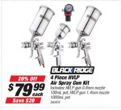 Supercheap Auto Black Ridge 4 Piece Hvlp Air Spray Gun Kit