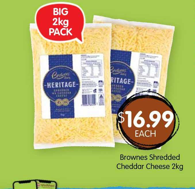 Spudshed Brownes Shredded Cheddar Cheese 2Kg