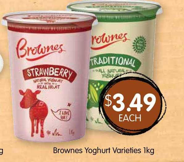 Spudshed Brownes Yoghurt Varieties 1Kg