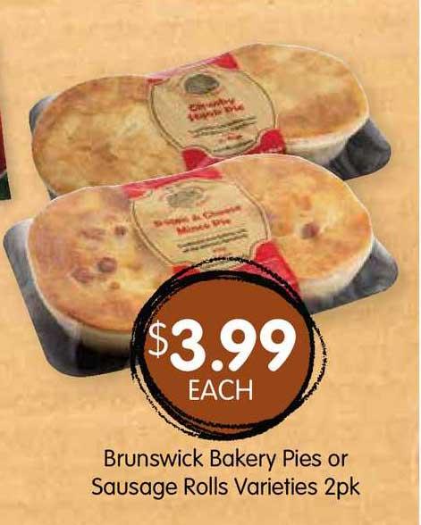 Spudshed Brunswick Bakery Pies Or Sausage Rolls Varieties 2pk