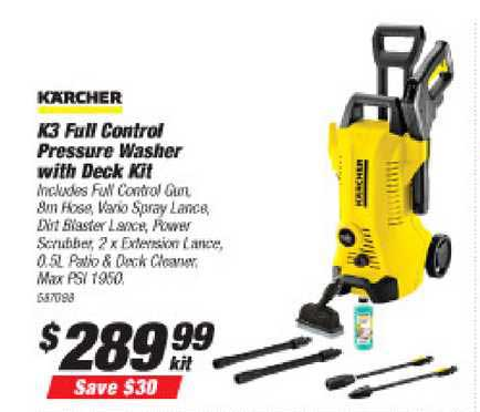 Supercheap Auto Kärcher K3 Full Control Pressure Washer With Deck Kit