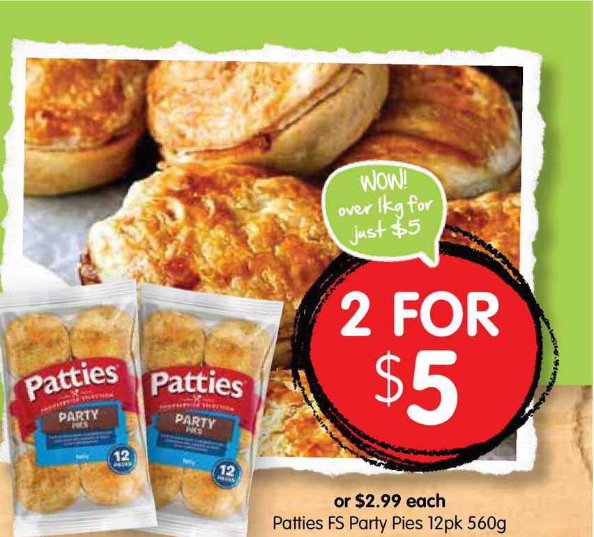 Spudshed Patties FS Party Pies 12pk 560g