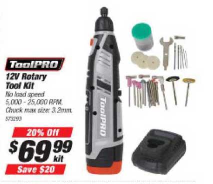 Supercheap Auto Toolpro 12v Rotary Tool Kit