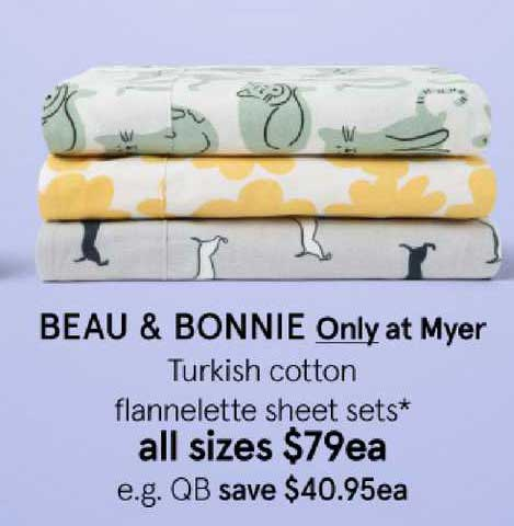 Myer Beau & Bonnie Only At Myer Turkish Cotton Flannelette Sheet Sets