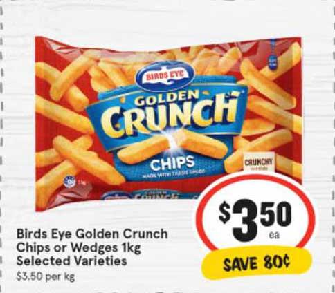 IGA Birds Eye Golden Crunch Chips Or Wedges 1kg
