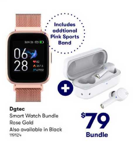 BIG W Dgtec Smart Watch Bundle Rose Gold Also Available In Black