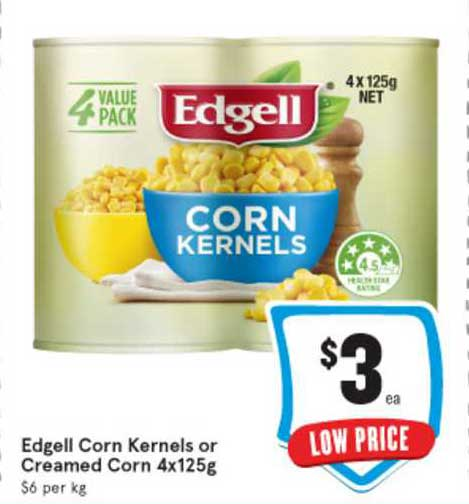 IGA Edgell Corn Kernels Or Creamed Corn 4x125g