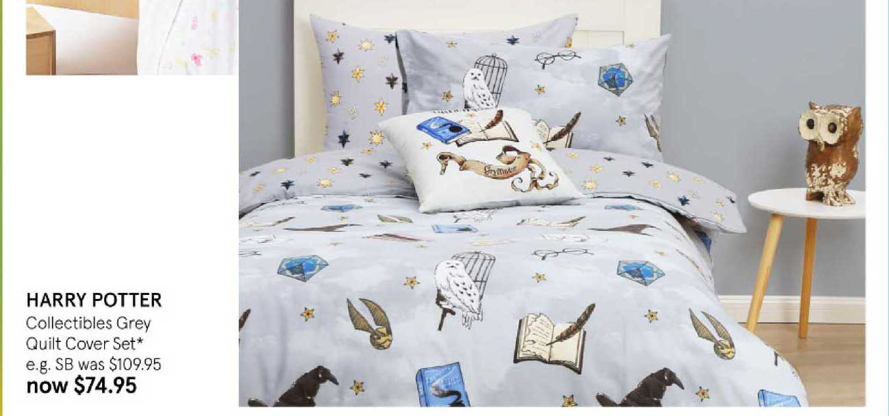 Myer Harry Potter Collectibles Grey Quilt Cover Set