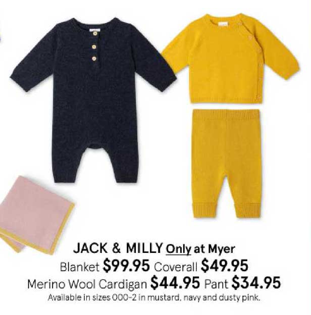 Myer Jack & Milly Only At Myer Blanket , Coverall , Merino Wool Cardigan , Pant