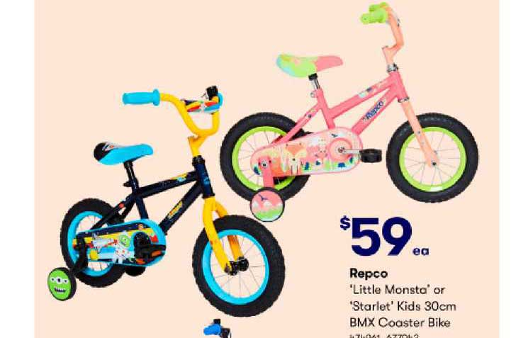 BIG W Repco 'Little Monsta' Or 'Starlet' Kids 30cm BMX Coaster Bike