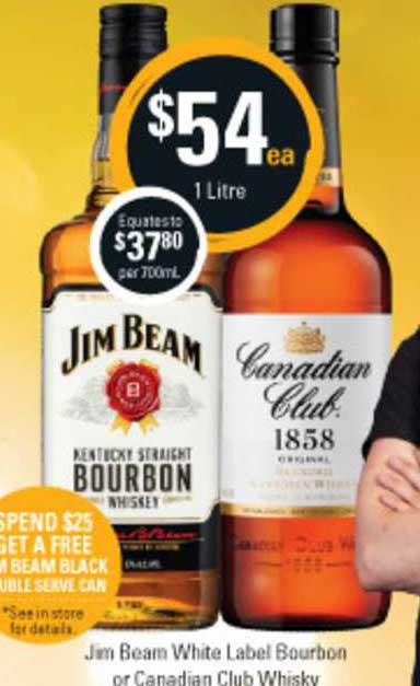 Cellarbrations Jim Beam White Label Bourbon Or Canadian Club Whisky