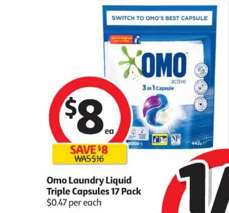 Coles Omo Laundry Liquid Triple Capsules 17 Pack