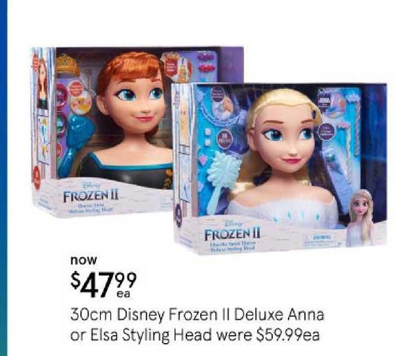 Myer 30cm Disney Frozen Ii Deluxe Anna Or Elsa Styling Head