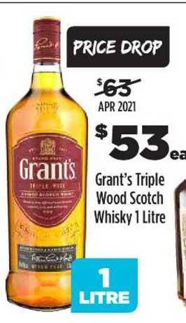 Liquorland Grant's Triple Wood Scotch Whisky 1 Litre