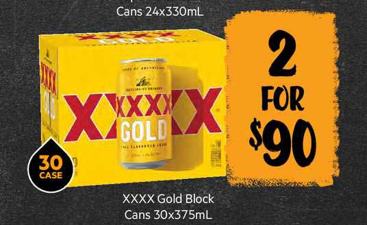 First Choice Liquor Xxxx Gold Block Cans 30 X 375 Ml