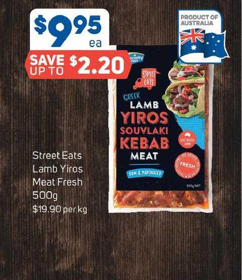 Foodland Street Eats Lamb Yiros Meat Fresh 500g