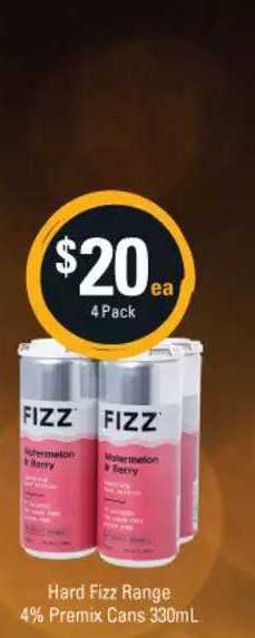 Cellarbrations Hard Fizz Range 4% Premix Cans 330mL