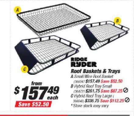 Supercheap Auto Ridge Ryder Roof Baskets & Trays