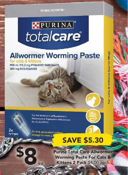 Drakes Purina Total Care Allwormer Worming Paste For Cats & Kittens 2 Pack