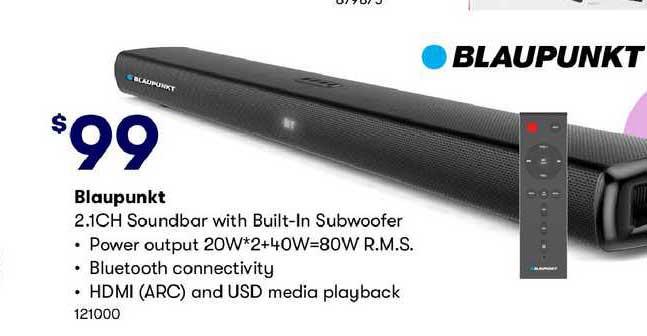 BIG W Blaupunkt 2.1ch Soundbar With Built-in Subwoofer
