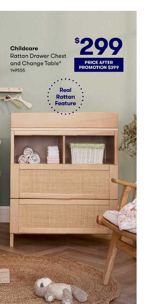 BIG W Childcare Rattan Drawer Chest And Change Table