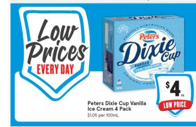 IGA Peters Dixie Cup Vanilla Ice Cream 4 Pack