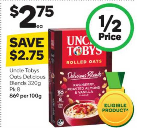 Woolworths Uncle Tobys Oats Delicious Blends