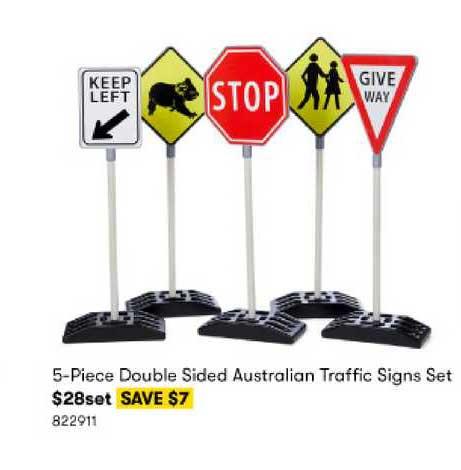 BIG W 5-Piece Double Sided Australian Traffic Signs Set