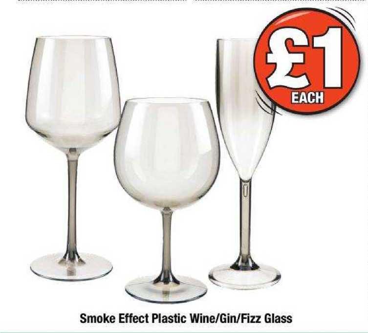 Poundland Smoke Effect Plastic Wine-Gin-Fizz Glass