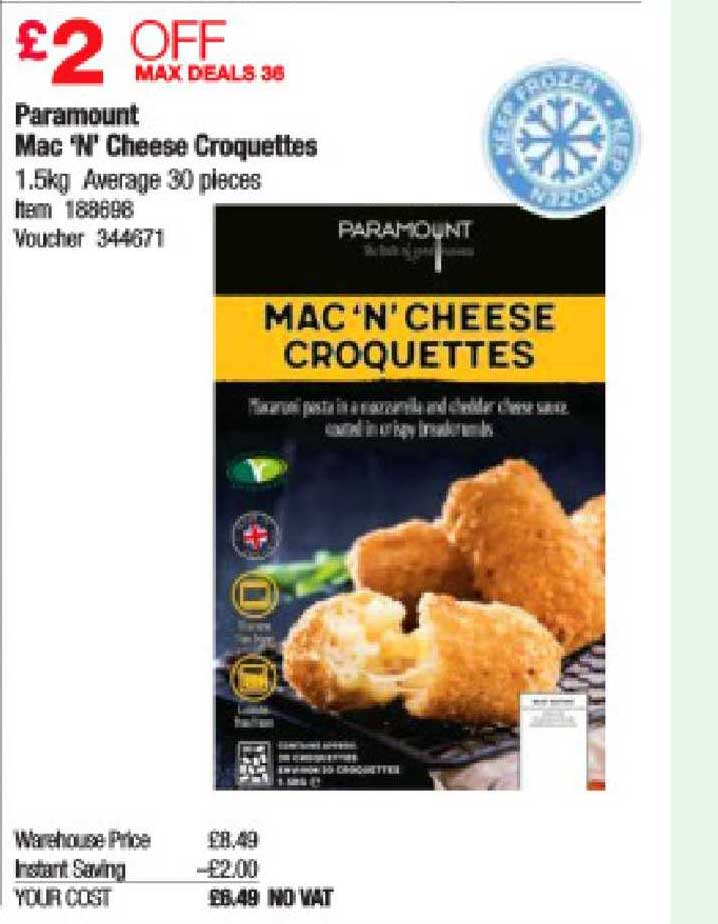 Costco Paramount Mac 'N' Cheese Croquettes