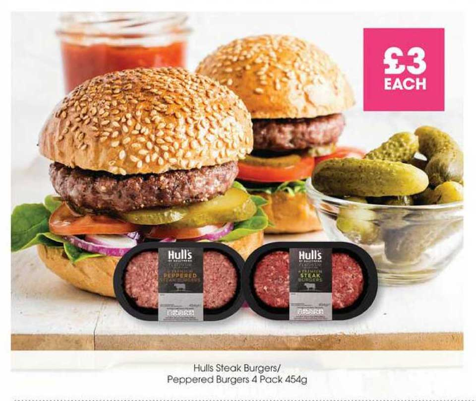 Centra Hulls Steak Burgers- Peppered Burgers 4 Pack 454g