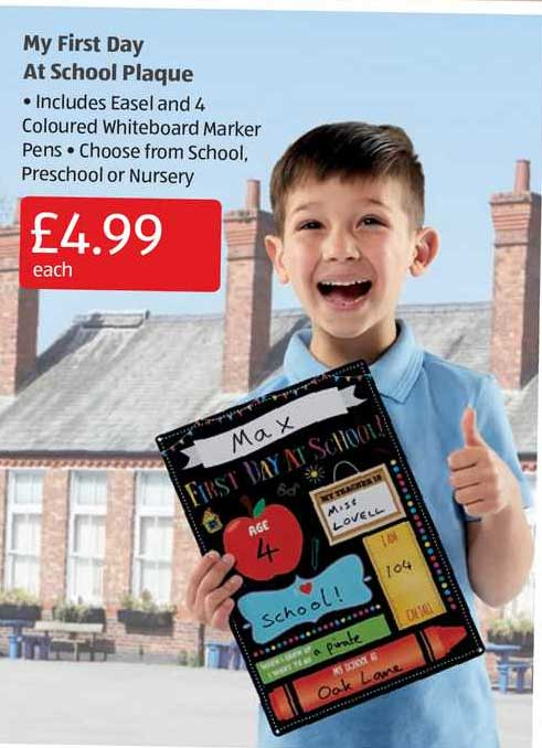 Aldi My First Day At School Plaque