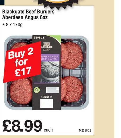 Makro Blackgate Beef Burgers Aberdeen Anguz 6oz