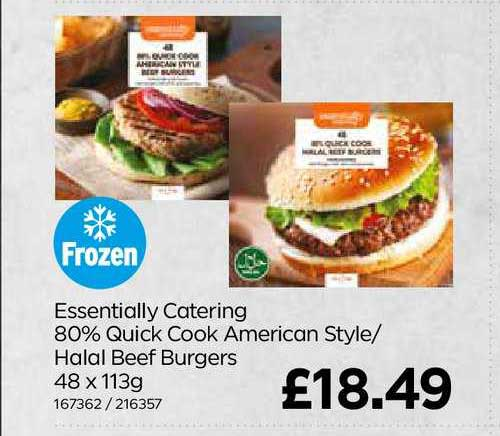 Bestway Essentially Catering 80% Quick Cook American Style- Halal Beef Burgers
