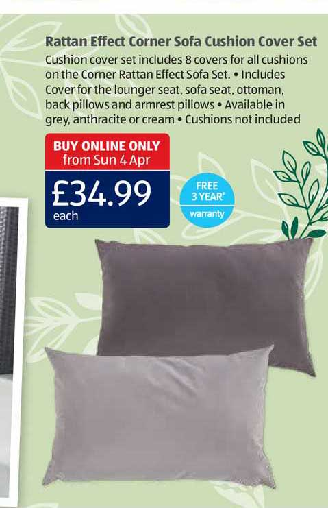 Aldi Rattan Effect Corner Sofa Cushion Cover Set