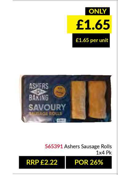 Musgrave MarketPlace Ashers Sausages Rolls