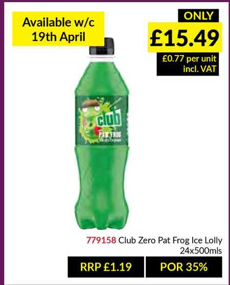 Musgrave MarketPlace Club Zero Pat Frog Ice Lolly